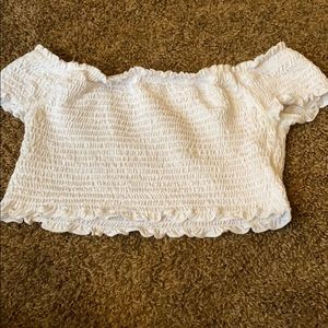 Tops - WHITE SMOCKED CROP TOP